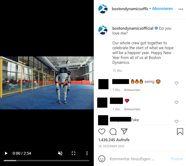 Example Boston Dynamics IG Account